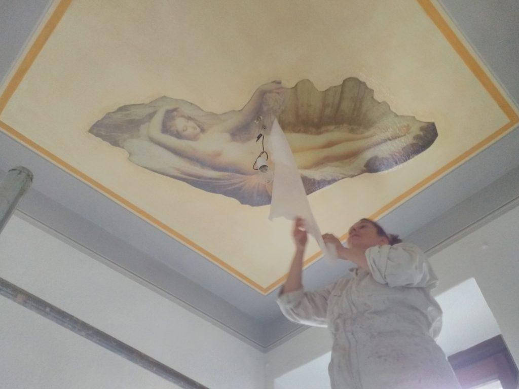 affresco digitale decorazione soffitto bagno