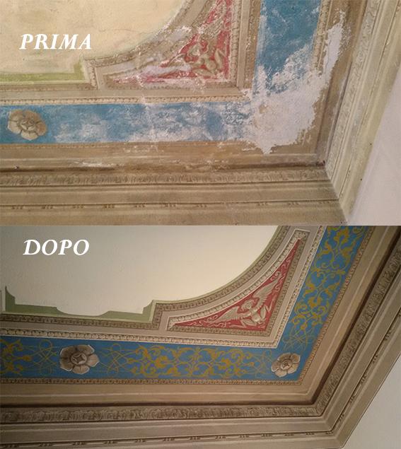particolare restauro di soffitto decoro fine '800