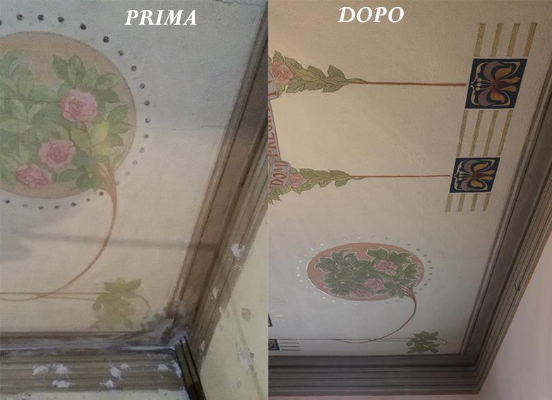 restauro soffitto decorato liberty Bergamo