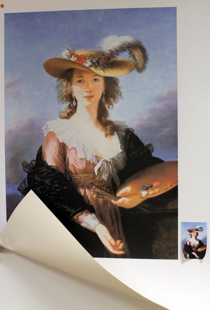riproduzione di dipinto autoritratto di Elisabeth vegèe- lebrun su tela canvas 100 x 70 cm